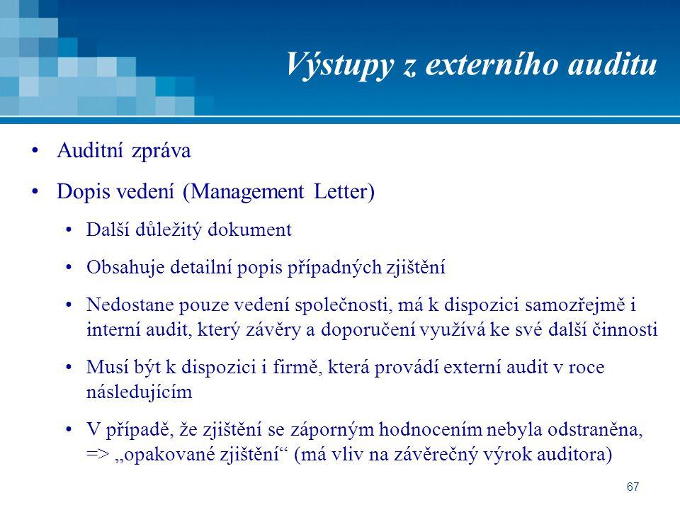 67 Výstupy z externího auditu Auditní zpráva Dopis vedení (Management Letter) Další důležitý dokument Obsahuje detailní popis případných zjištění Nedo