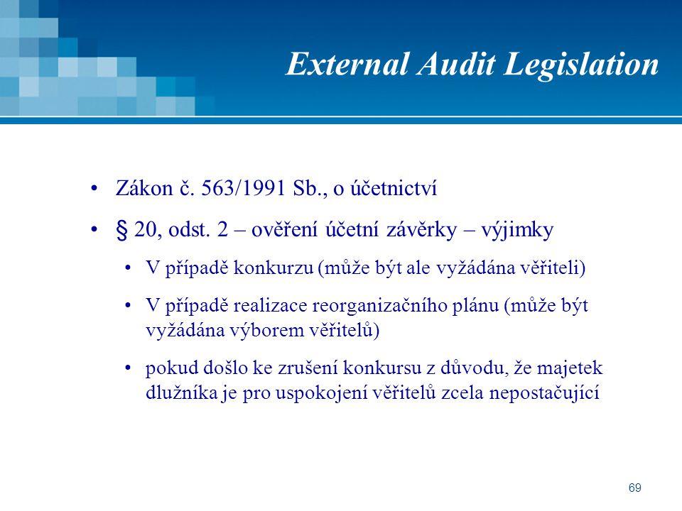 69 External Audit Legislation Zákon č. 563/1991 Sb., o účetnictví § 20, odst. 2 – ověření účetní závěrky – výjimky V případě konkurzu (může být ale vy
