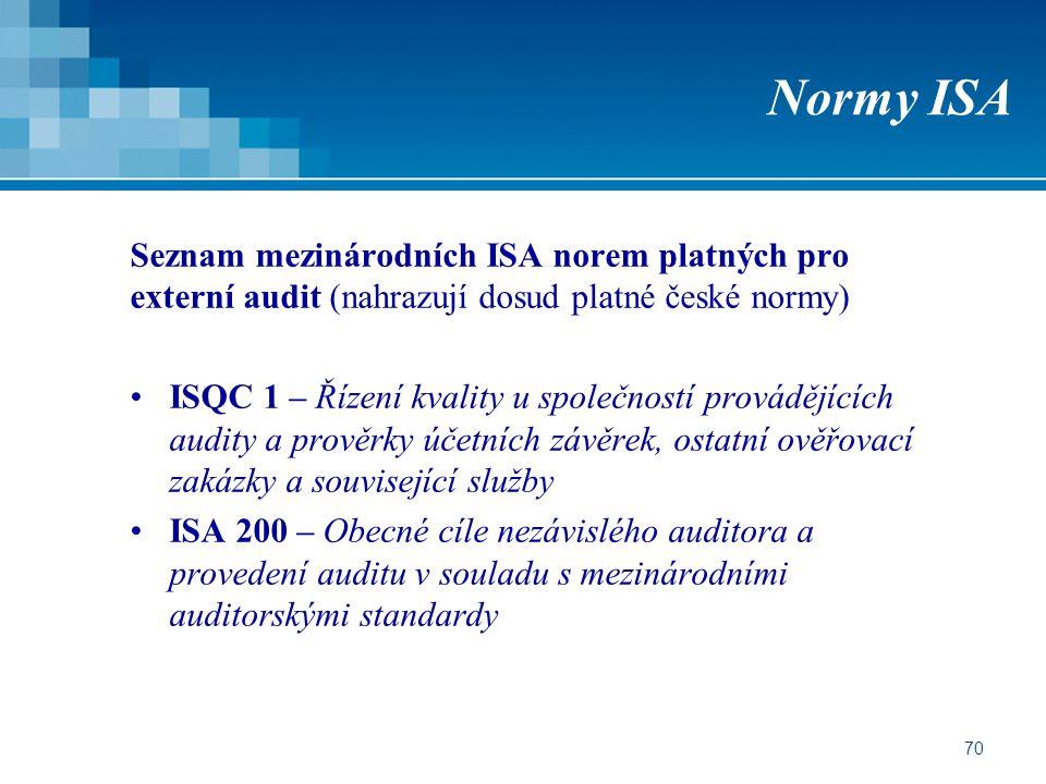 70 Normy ISA Seznam mezinárodních ISA norem platných pro externí audit (nahrazují dosud platné české normy) ISQC 1 – Řízení kvality u společností prov