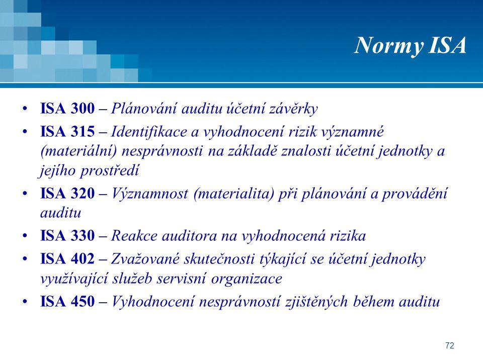 72 Normy ISA ISA 300 – Plánování auditu účetní závěrky ISA 315 – Identifikace a vyhodnocení rizik významné (materiální) nesprávnosti na základě znalosti účetní jednotky a jejího prostředí ISA 320 – Významnost (materialita) při plánování a provádění auditu ISA 330 – Reakce auditora na vyhodnocená rizika ISA 402 – Zvažované skutečnosti týkající se účetní jednotky využívající služeb servisní organizace ISA 450 – Vyhodnocení nesprávností zjištěných během auditu