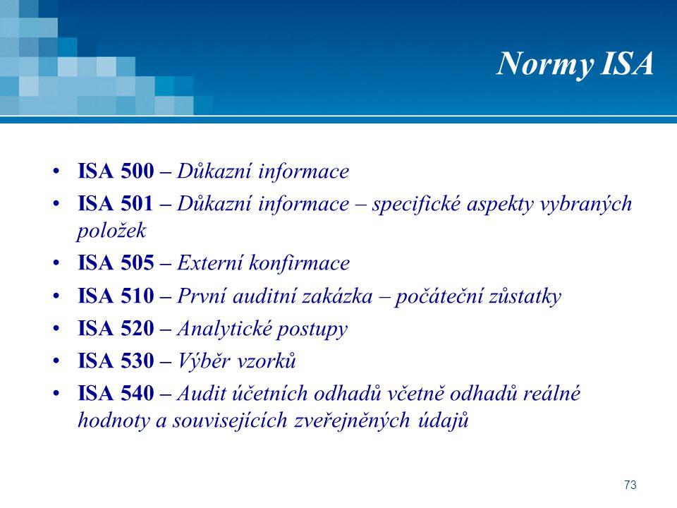 73 Normy ISA ISA 500 – Důkazní informace ISA 501 – Důkazní informace – specifické aspekty vybraných položek ISA 505 – Externí konfirmace ISA 510 – Prv