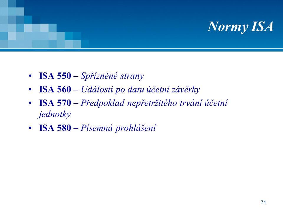 74 Normy ISA ISA 550 – Spřízněné strany ISA 560 – Události po datu účetní závěrky ISA 570 – Předpoklad nepřetržitého trvání účetní jednotky ISA 580 – Písemná prohlášení
