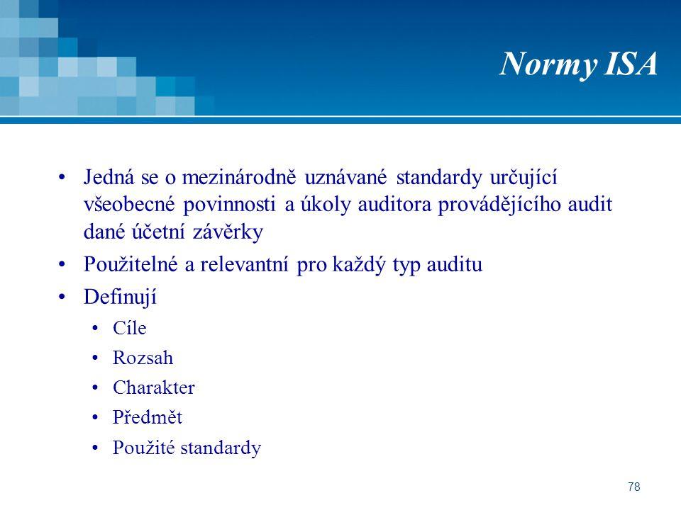 78 Normy ISA Jedná se o mezinárodně uznávané standardy určující všeobecné povinnosti a úkoly auditora provádějícího audit dané účetní závěrky Použitel