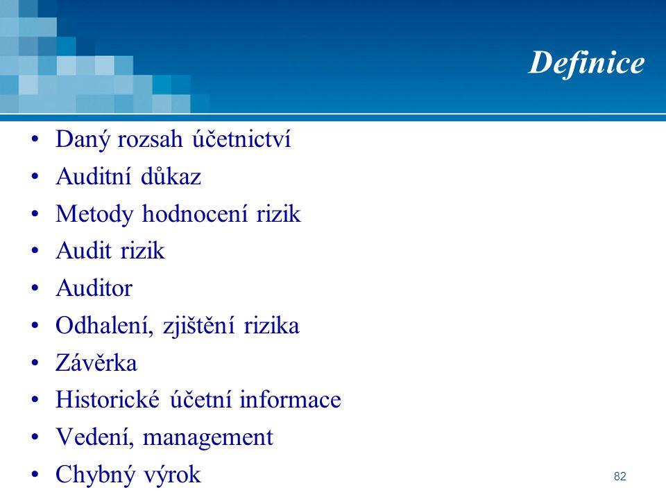 82 Definice Daný rozsah účetnictví Auditní důkaz Metody hodnocení rizik Audit rizik Auditor Odhalení, zjištění rizika Závěrka Historické účetní informace Vedení, management Chybný výrok