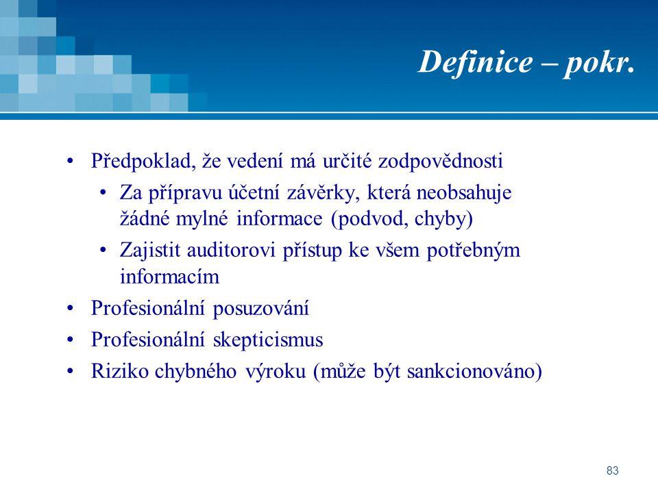 83 Definice – pokr. Předpoklad, že vedení má určité zodpovědnosti Za přípravu účetní závěrky, která neobsahuje žádné mylné informace (podvod, chyby) Z