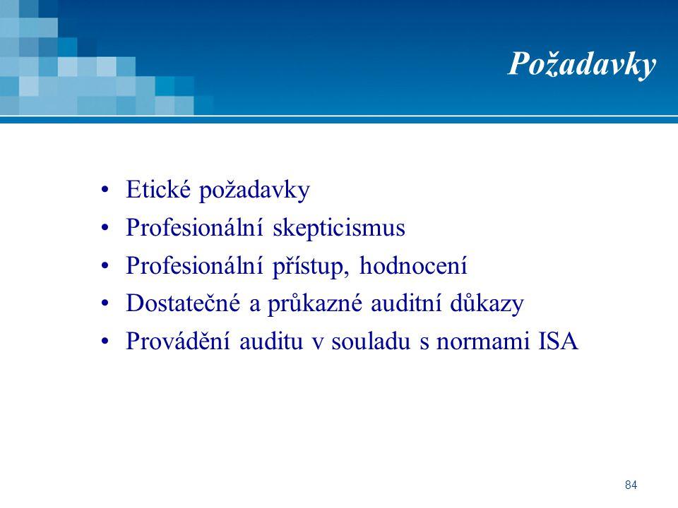 84 Požadavky Etické požadavky Profesionální skepticismus Profesionální přístup, hodnocení Dostatečné a průkazné auditní důkazy Provádění auditu v souladu s normami ISA
