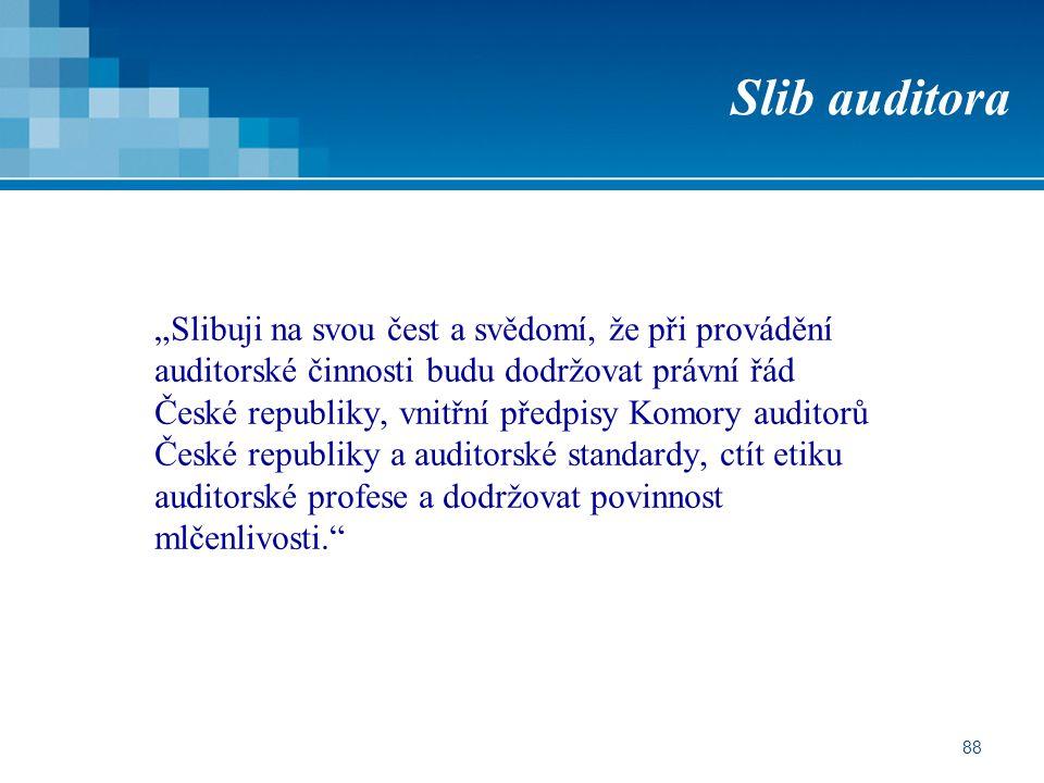 """88 Slib auditora """"Slibuji na svou čest a svědomí, že při provádění auditorské činnosti budu dodržovat právní řád České republiky, vnitřní předpisy Kom"""