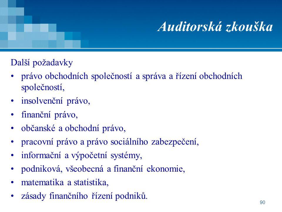 90 Auditorská zkouška Další požadavky právo obchodních společností a správa a řízení obchodních společností, insolvenční právo, finanční právo, občans