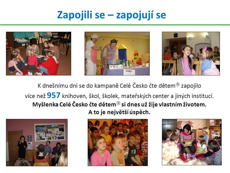 Zapojili se – zapojují se K dnešnímu dni se do kampaně Celé Česko čte dětem ® zapojilo více než 957 knihoven, škol, školek, mateřských center a jiných institucí.