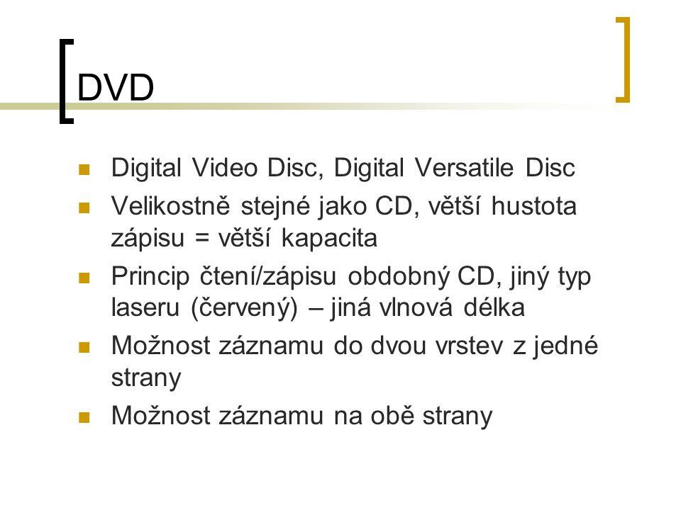 DVD Digital Video Disc, Digital Versatile Disc Velikostně stejné jako CD, větší hustota zápisu = větší kapacita Princip čtení/zápisu obdobný CD, jiný