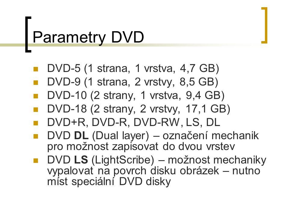 Parametry DVD DVD-5 (1 strana, 1 vrstva, 4,7 GB) DVD-9 (1 strana, 2 vrstvy, 8,5 GB) DVD-10 (2 strany, 1 vrstva, 9,4 GB) DVD-18 (2 strany, 2 vrstvy, 17