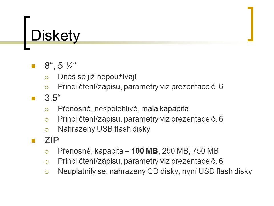 """Diskety 8"""", 5 ¼""""  Dnes se již nepoužívají  Princi čtení/zápisu, parametry viz prezentace č. 6 3,5""""  Přenosné, nespolehlivé, malá kapacita  Princi"""
