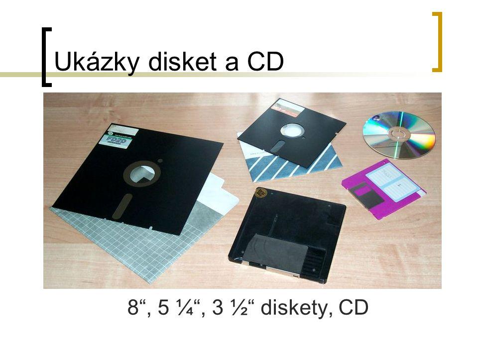"Ukázky disket a CD 8"", 5 ¼"", 3 ½"" diskety, CD"