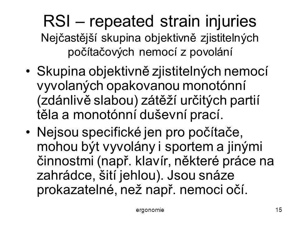 ergonomie15 RSI – repeated strain injuries Nejčastější skupina objektivně zjistitelných počítačových nemocí z povolání Skupina objektivně zjistitelnýc