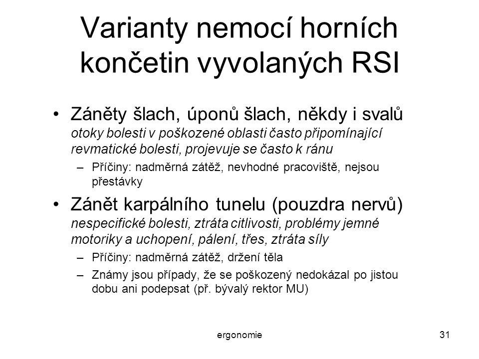 ergonomie31 Varianty nemocí horních končetin vyvolaných RSI Záněty šlach, úponů šlach, někdy i svalů otoky bolesti v poškozené oblasti často připomína