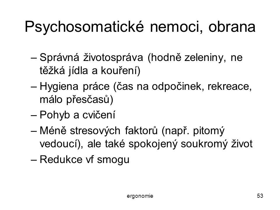 ergonomie53 Psychosomatické nemoci, obrana –Správná životospráva (hodně zeleniny, ne těžká jídla a kouření) –Hygiena práce (čas na odpočinek, rekreace