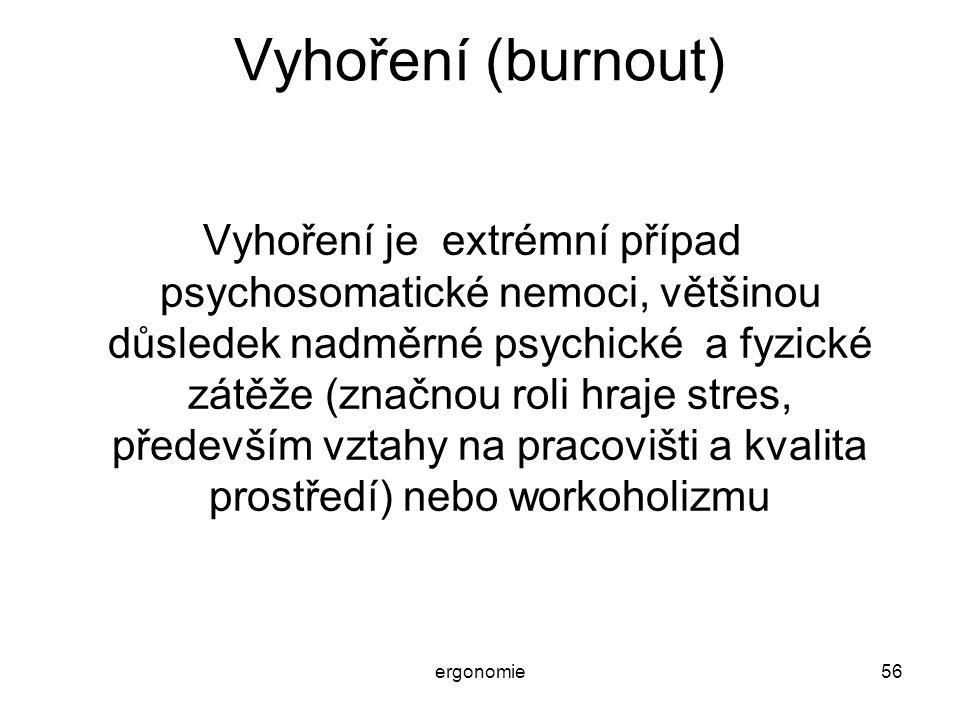 ergonomie56 Vyhoření (burnout) Vyhoření je extrémní případ psychosomatické nemoci, většinou důsledek nadměrné psychické a fyzické zátěže (značnou roli