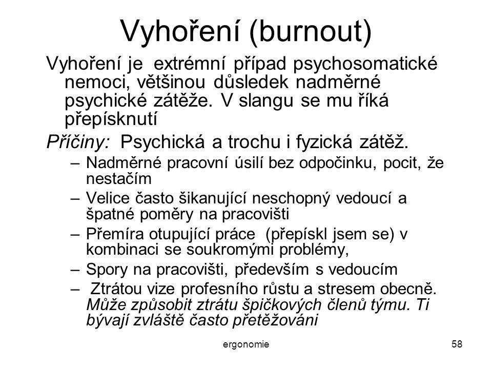 ergonomie58 Vyhoření (burnout) Vyhoření je extrémní případ psychosomatické nemoci, většinou důsledek nadměrné psychické zátěže. V slangu se mu říká př
