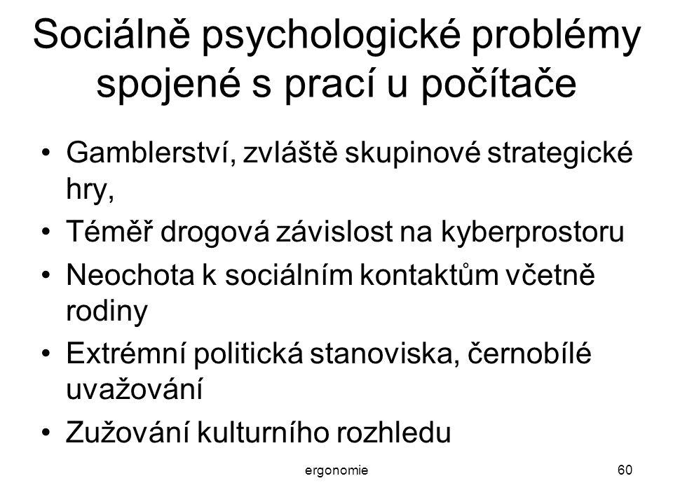ergonomie60 Sociálně psychologické problémy spojené s prací u počítače Gamblerství, zvláště skupinové strategické hry, Téměř drogová závislost na kybe