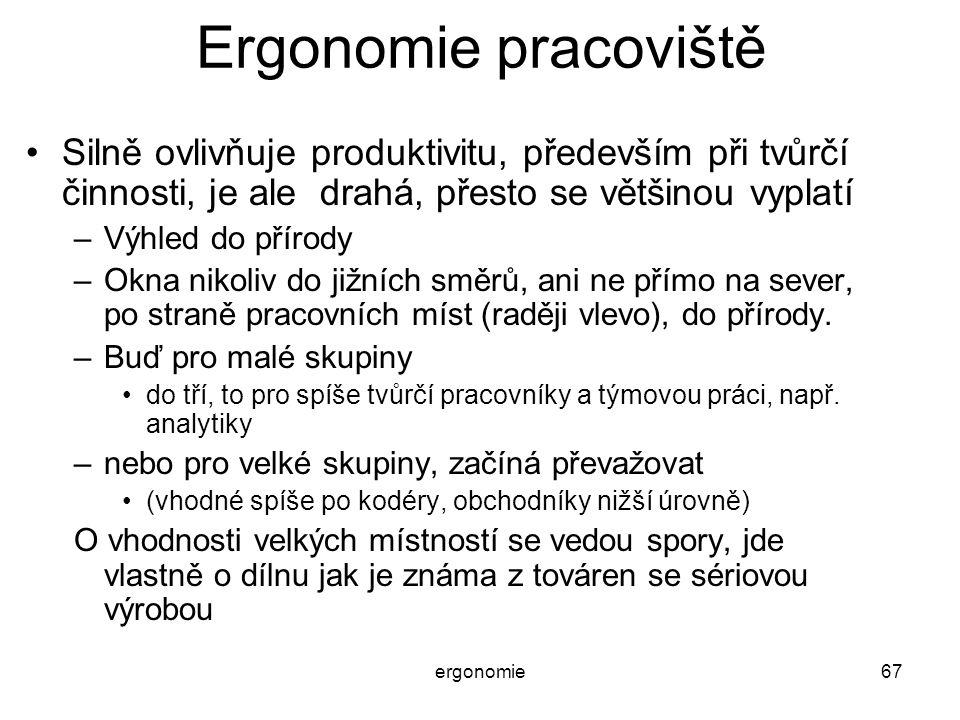 ergonomie67 Ergonomie pracoviště Silně ovlivňuje produktivitu, především při tvůrčí činnosti, je ale drahá, přesto se většinou vyplatí –Výhled do přír