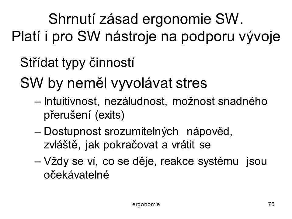 ergonomie76 Shrnutí zásad ergonomie SW. Platí i pro SW nástroje na podporu vývoje Střídat typy činností SW by neměl vyvolávat stres –Intuitivnost, nez