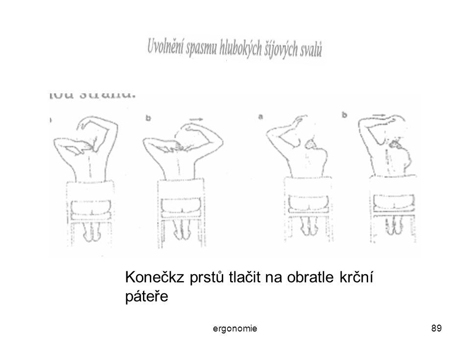 ergonomie89 Konečkz prstů tlačit na obratle krční páteře