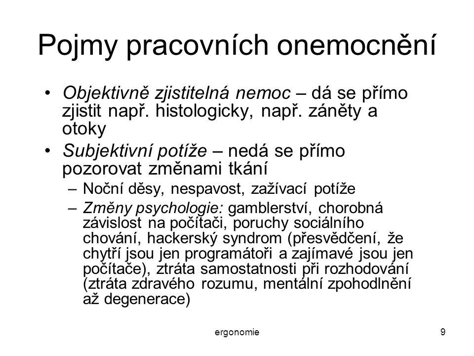 ergonomie50 Psychosomatické nemoci Projevy vyvolávané/zhoršované prací u počítače: –Žaludeční neurózy až vředy (nevolnosti, bolesti,..) –Nespavost a noční děsy –Nechutenství, nadýmání –Potíže s vyměšováním (zácpy, moč) –Poruchy v činnosti vnitřních orgánů (hlavně žlučník a ledviny) –Zesilování těhotenských potíží (chránit těhotné) –Bolesti hlavy a nevolnosti, migrény.