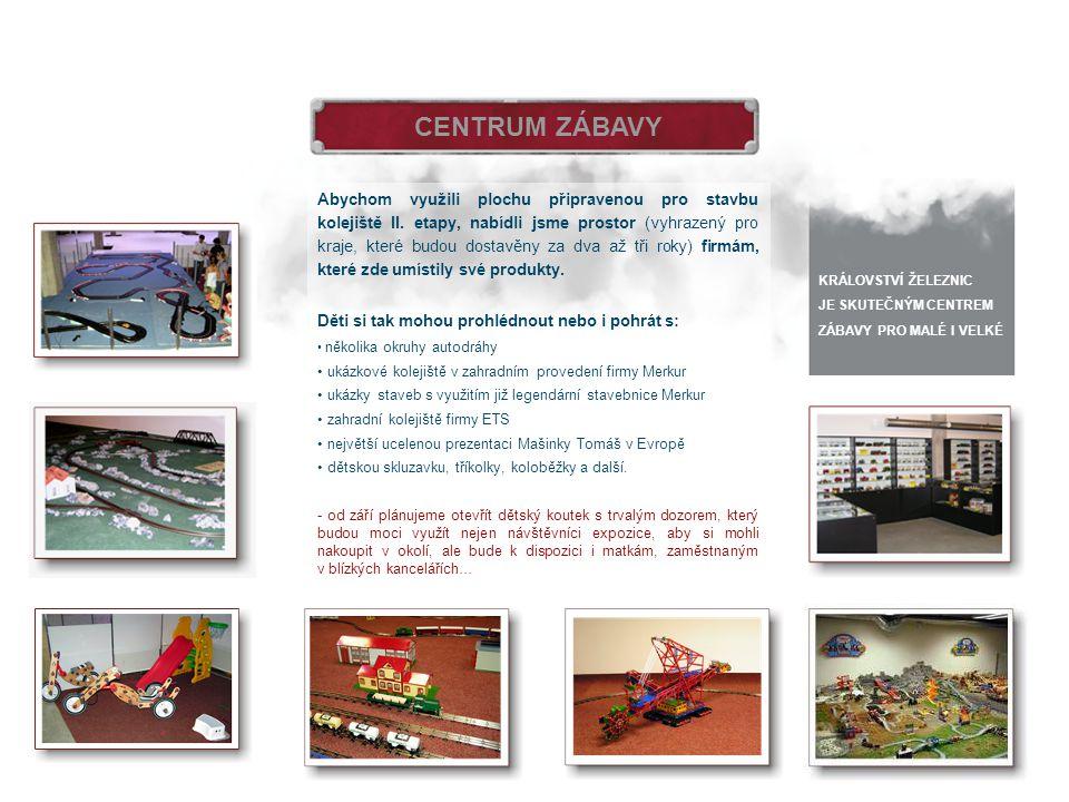 CENTRUM ZÁBAVY Abychom využili plochu připravenou pro stavbu kolejiště II. etapy, nabídli jsme prostor (vyhrazený pro kraje, které budou dostavěny za