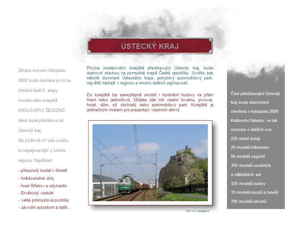 ÚSTECKÝ KRAJ Část představující Ústecký kraj bude slavnostně otevřena v listopadu 2009. Království železnic se tak rozroste o dalších cca: 220 metrů k