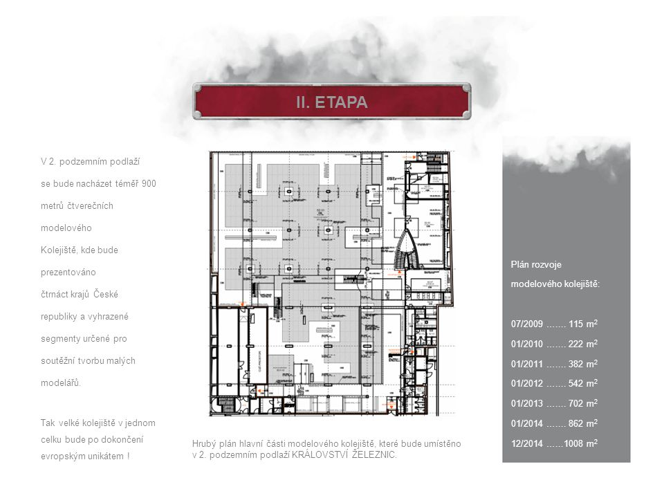 II. ETAPA Plán rozvoje modelového kolejiště: 07/2009 ….... 115 m 2 01/2010 ….... 222 m 2 01/2011 ….... 382 m 2 01/2012 ….... 542 m 2 01/2013 ….... 702