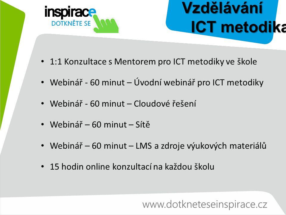 Vzdělávání ICT metodika ICT metodika 1:1 Konzultace s Mentorem pro ICT metodiky ve škole Webinář - 60 minut – Úvodní webinář pro ICT metodiky Webinář - 60 minut – Cloudové řešení Webinář – 60 minut – Sítě Webinář – 60 minut – LMS a zdroje výukových materiálů 15 hodin online konzultací na každou školu