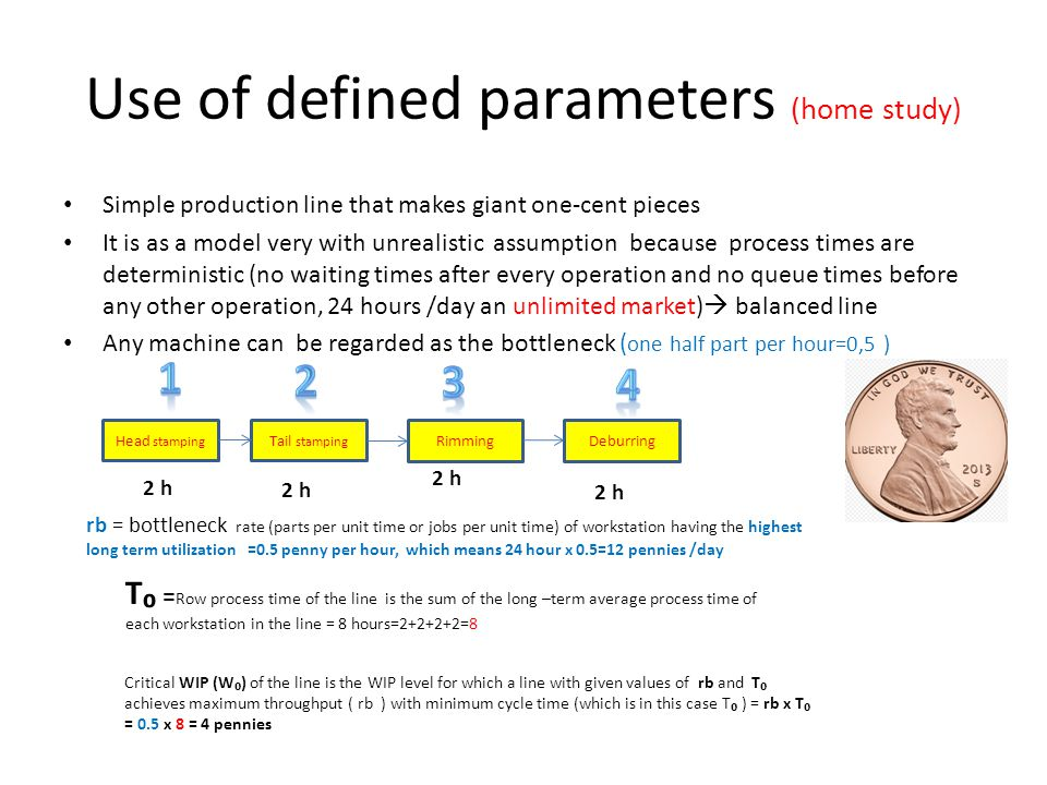 Use of defined parameters (home study) Simple production line that makes giant one-cent pieces It is as a model very with unrealistic assumption becau