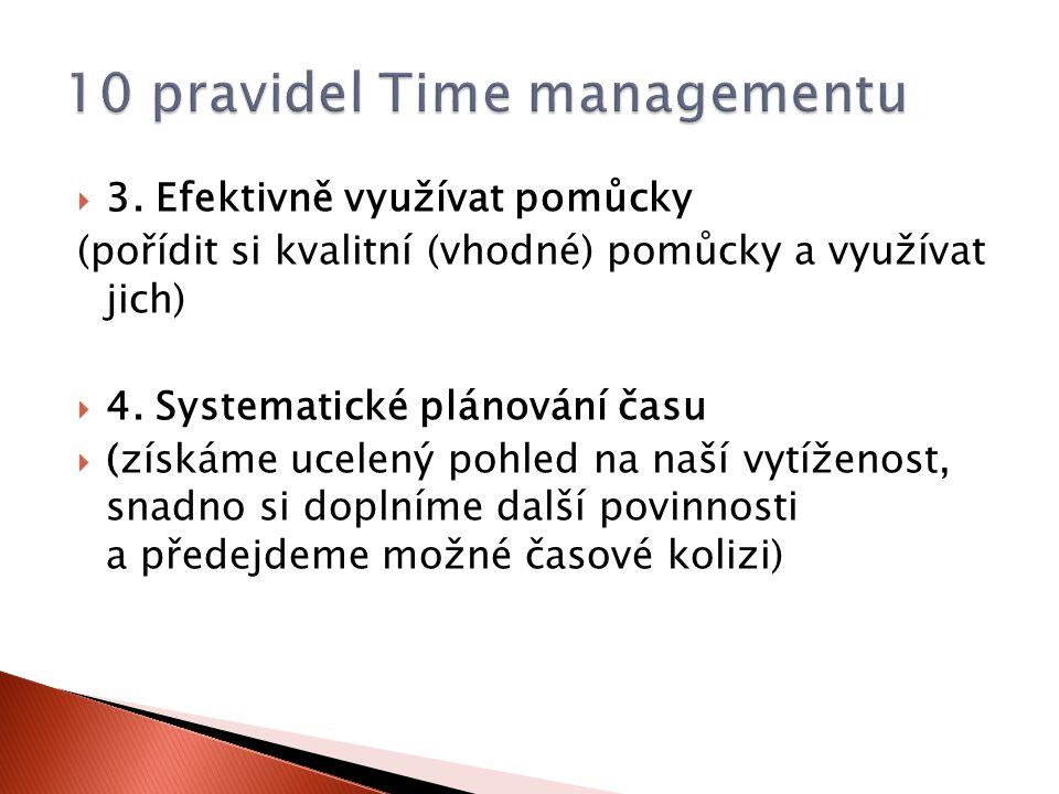  3. Efektivně využívat pomůcky (pořídit si kvalitní (vhodné) pomůcky a využívat jich)  4. Systematické plánování času  (získáme ucelený pohled na n