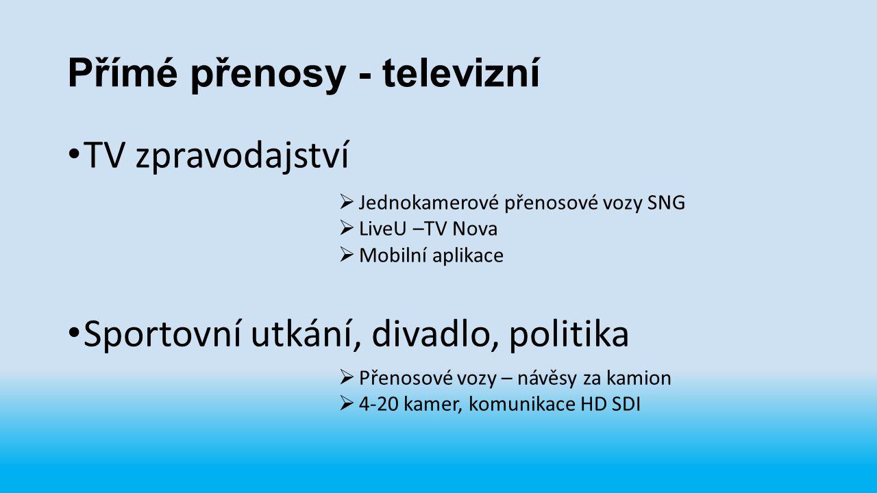 Přímé přenosy - televizní TV zpravodajství Sportovní utkání, divadlo, politika  Jednokamerové přenosové vozy SNG  LiveU –TV Nova  Mobilní aplikace