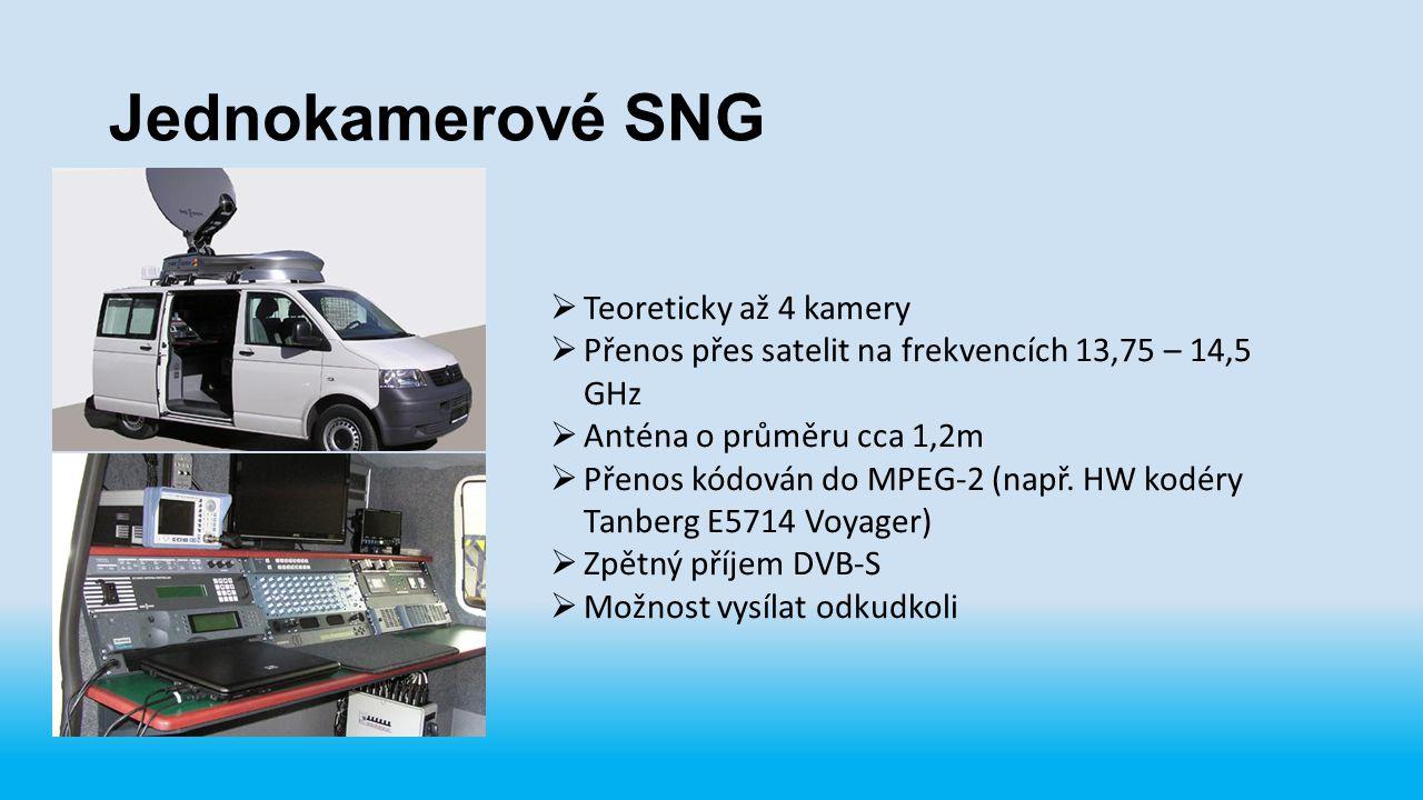 Jednokamerové SNG  Teoreticky až 4 kamery  Přenos přes satelit na frekvencích 13,75 – 14,5 GHz  Anténa o průměru cca 1,2m  Přenos kódován do MPEG-