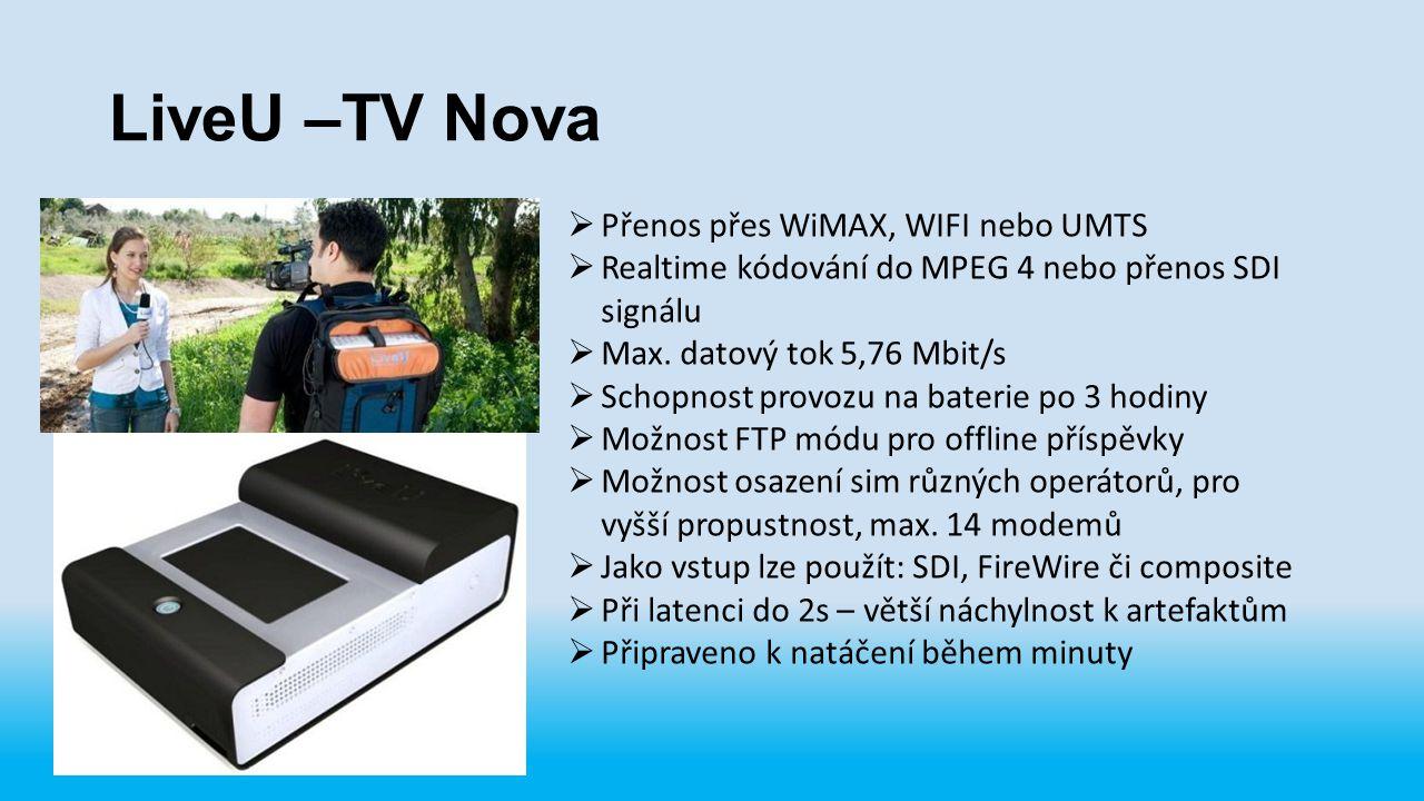 LiveU –TV Nova  Přenos přes WiMAX, WIFI nebo UMTS  Realtime kódování do MPEG 4 nebo přenos SDI signálu  Max. datový tok 5,76 Mbit/s  Schopnost pro
