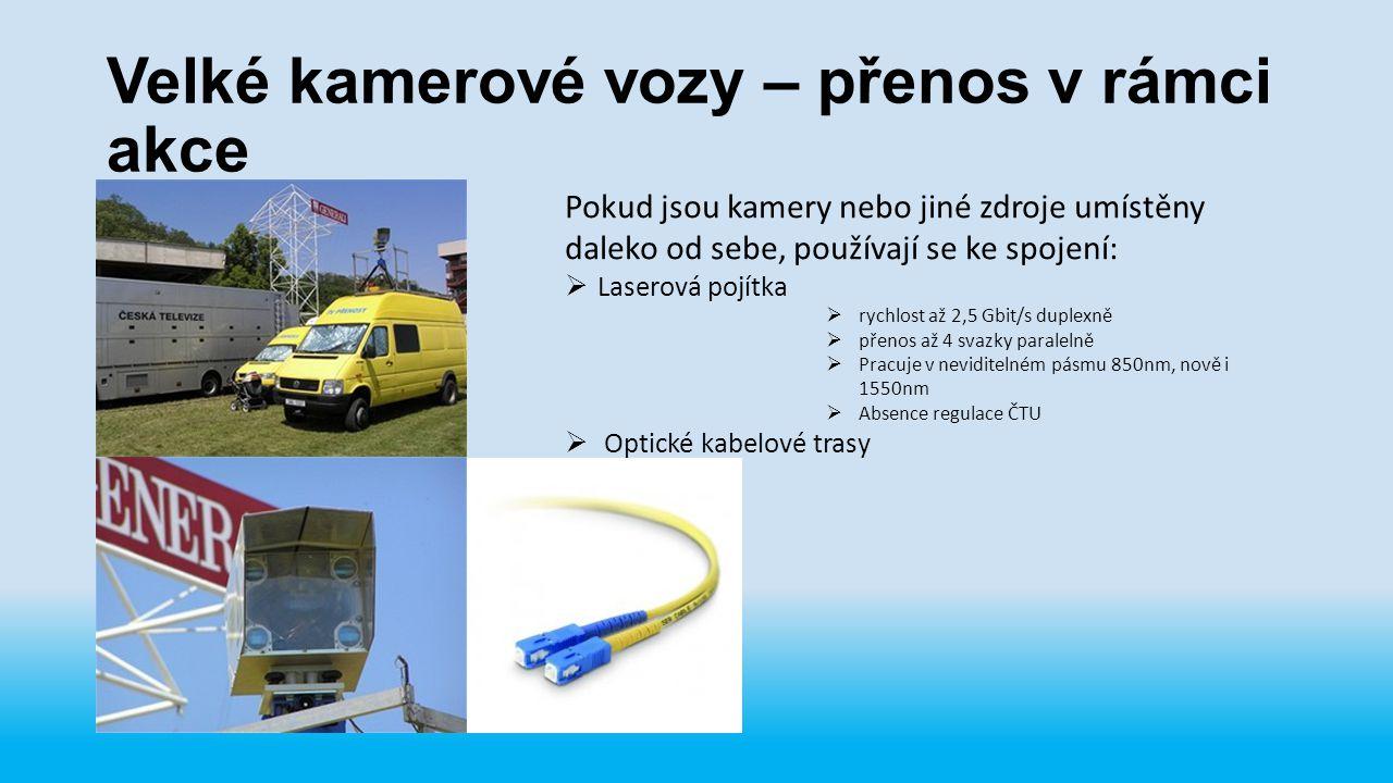 Velké kamerové vozy – přenos v rámci akce Pokud jsou kamery nebo jiné zdroje umístěny daleko od sebe, používají se ke spojení:  Laserová pojítka  ry