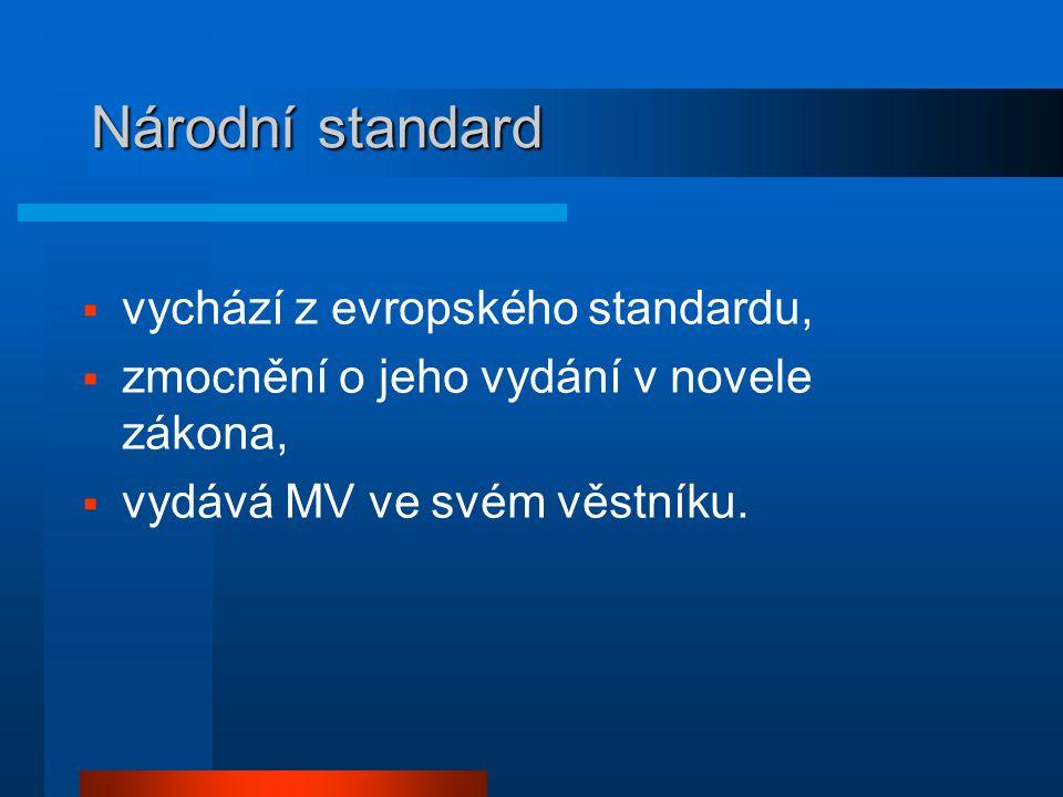 Národní standard  vychází z evropského standardu,  zmocnění o jeho vydání v novele zákona,  vydává MV ve svém věstníku.