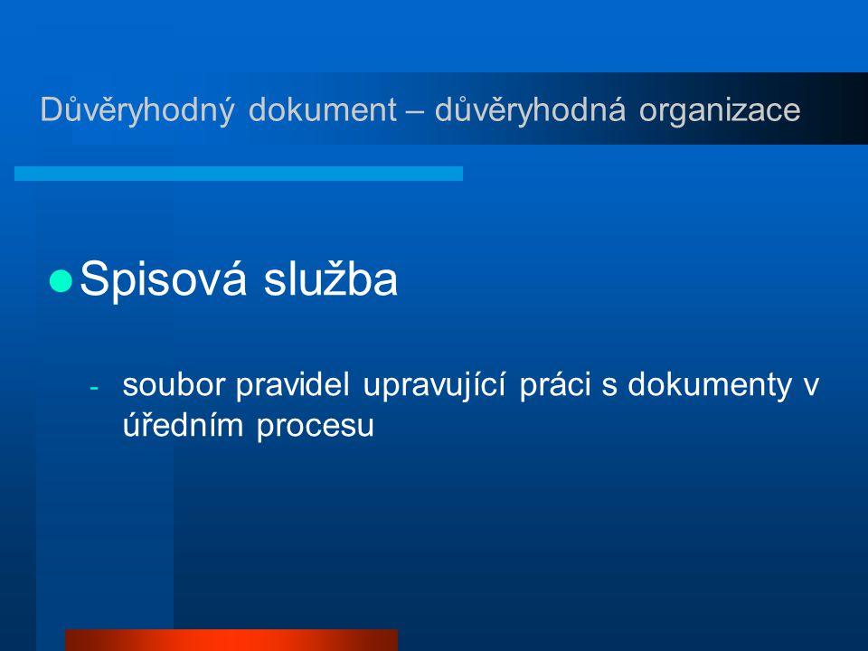 Spisová služba - soubor pravidel upravující práci s dokumenty v úředním procesu Důvěryhodný dokument – důvěryhodná organizace