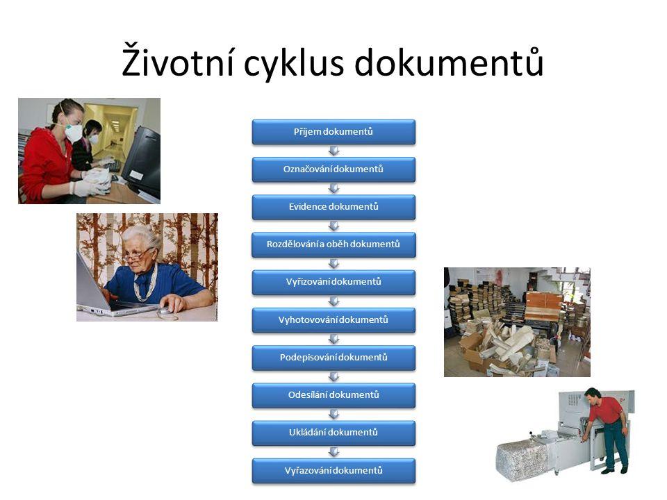 Životní cyklus dokumentů Příjem dokumentůOznačování dokumentůEvidence dokumentůRozdělování a oběh dokumentůVyřizování dokumentůVyhotovování dokumentůP