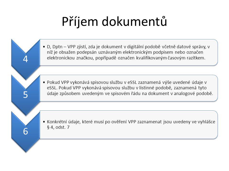 Příjem dokumentů 4 D, Dptn – VPP zjistí, zda je dokume nt v digitální podobě včetně datové správy, v níž je obsaže n podeps án uznáva ným elektron ickým podpise m nebo označe n elektron ickou značkou, popřípa dě označe n kvalifiko vaným časový m razítke m.