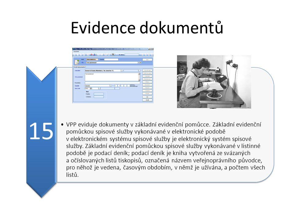 Evidence dokumentů 15 VPP eviduje dokumenty v základní evidenční pomůcce. Základní evidenční pomůckou spisové služby vykonávané v elektronické podobě