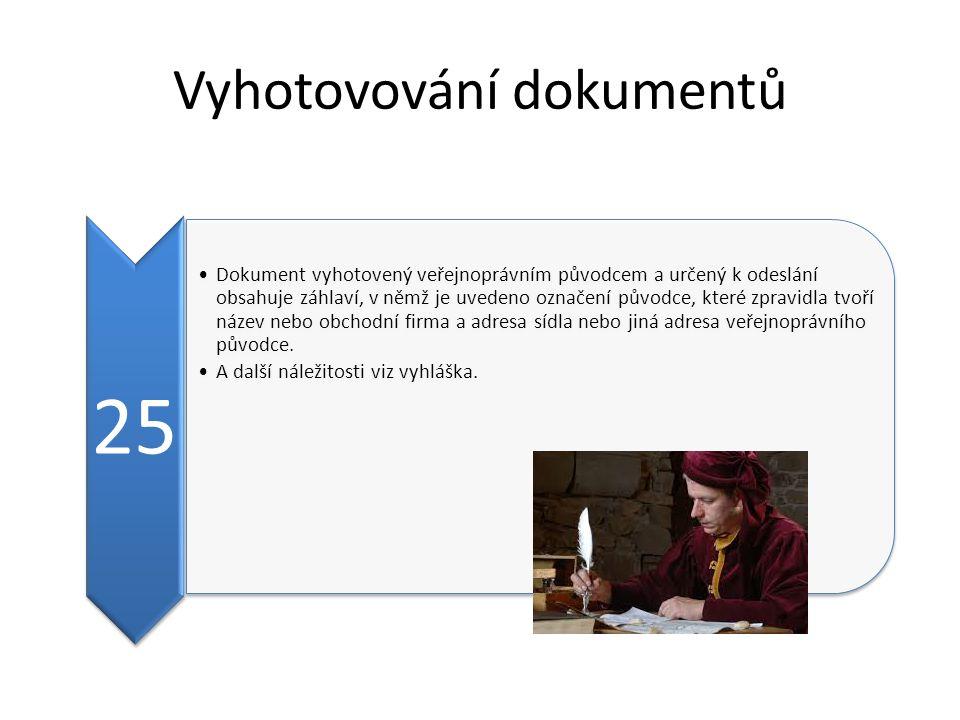 Vyhotovování dokumentů 25 Dokument vyhotovený veřejnoprávním původcem a určený k odeslání obsahuje záhlaví, v němž je uvedeno označení původce, které