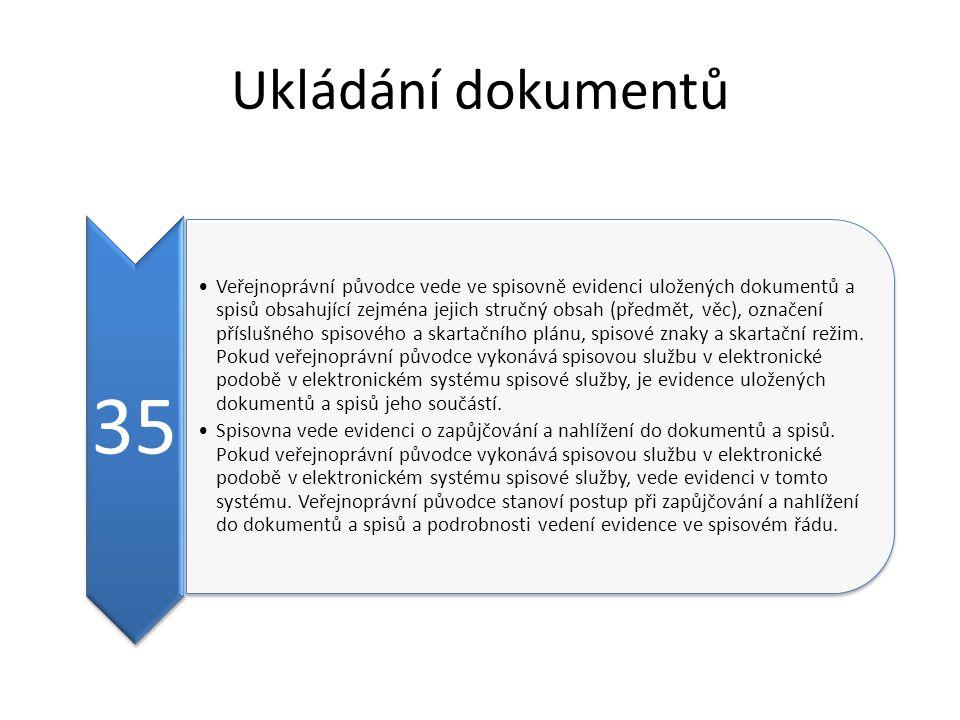 Ukládání dokumentů 35 Veřejnoprávní původce vede ve spisovně evidenci uložených dokumentů a spisů obsahující zejména jejich stručný obsah (předmět, věc), označení příslušného spisového a skartačního plánu, spisové znaky a skartační režim.