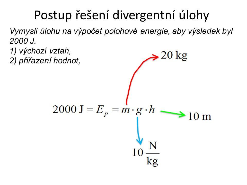 Postup řešení divergentní úlohy Vymysli úlohu na výpočet polohové energie, aby výsledek byl 2000 J. 1) výchozí vztah, 2) přiřazení hodnot,
