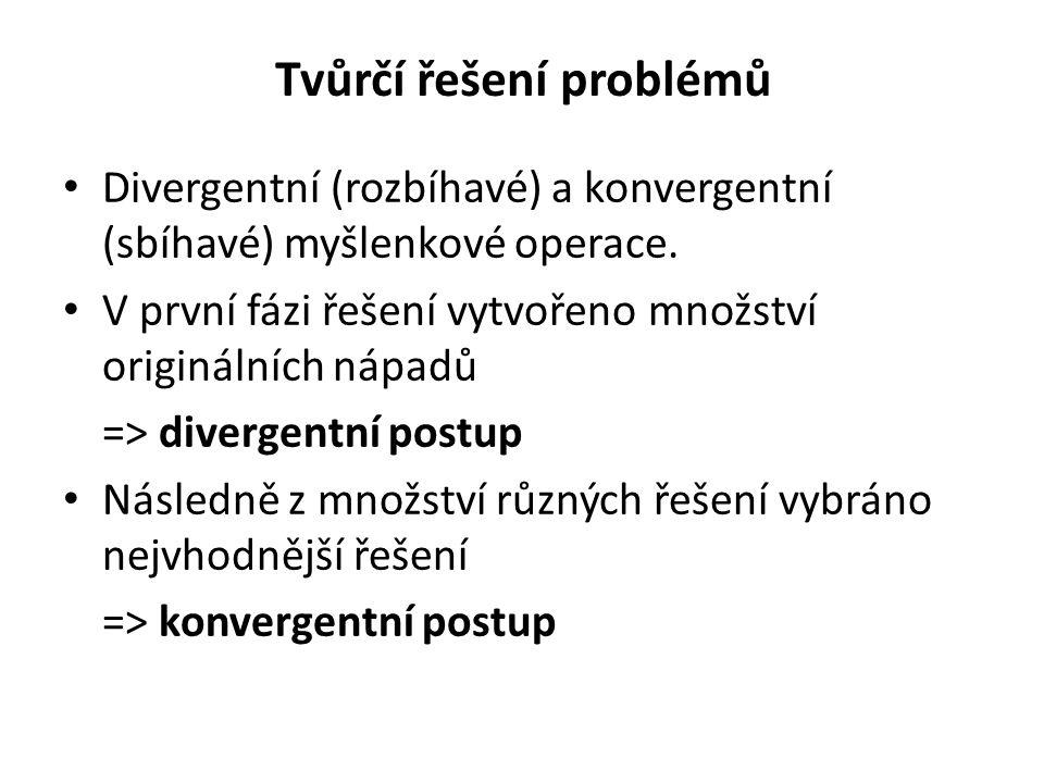Tvůrčí řešení problémů Divergentní (rozbíhavé) a konvergentní (sbíhavé) myšlenkové operace. V první fázi řešení vytvořeno množství originálních nápadů