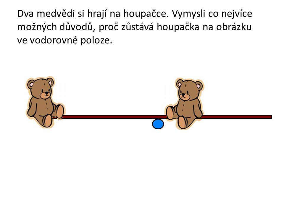 Dva medvědi si hrají na houpačce. Vymysli co nejvíce možných důvodů, proč zůstává houpačka na obrázku ve vodorovné poloze.