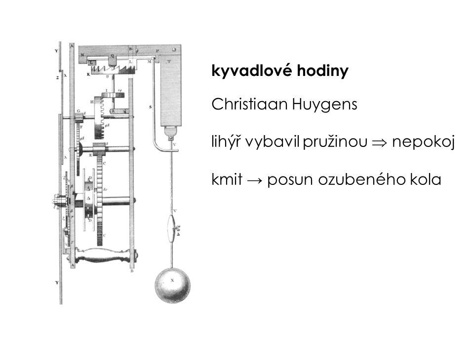 kyvadlové hodiny Christiaan Huygens lihýř vybavil pružinou  nepokoj kmit → posun ozubeného kola