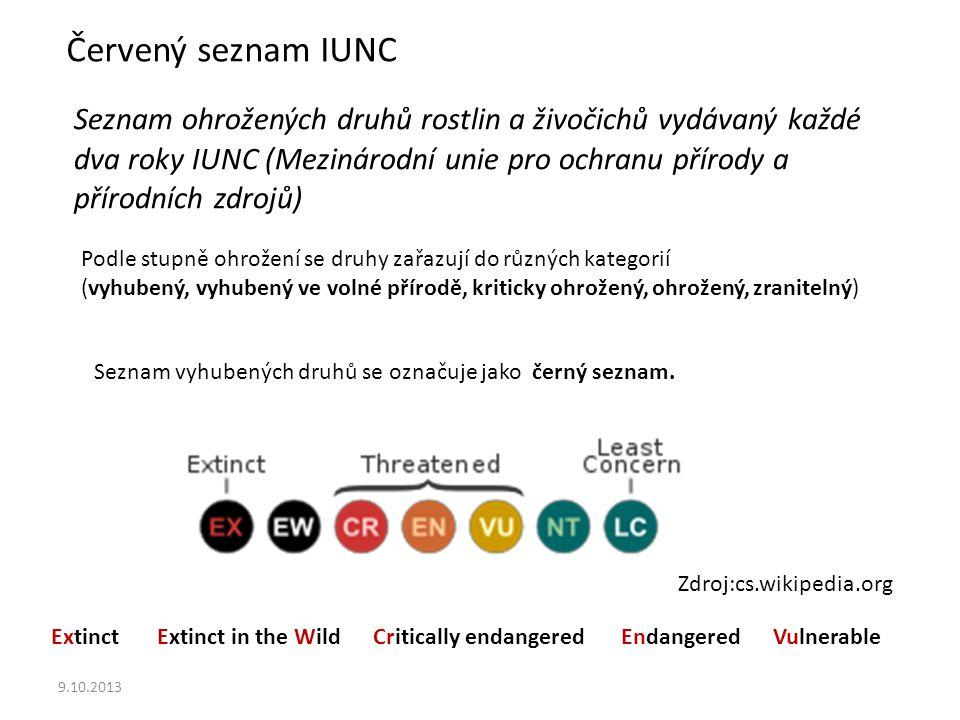 9.10.2013 Červený seznam IUNC Seznam ohrožených druhů rostlin a živočichů vydávaný každé dva roky IUNC (Mezinárodní unie pro ochranu přírody a přírodních zdrojů) Podle stupně ohrožení se druhy zařazují do různých kategorií (vyhubený, vyhubený ve volné přírodě, kriticky ohrožený, ohrožený, zranitelný) Seznam vyhubených druhů se označuje jako černý seznam.