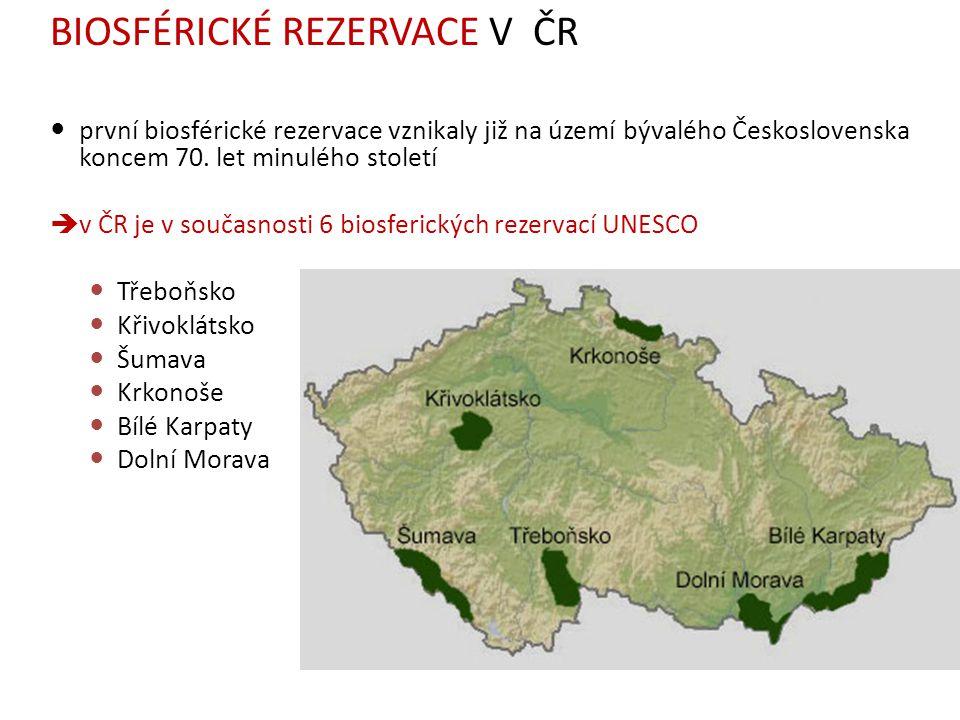 první biosférické rezervace vznikaly již na území bývalého Československa koncem 70. let minulého století  v ČR je v současnosti 6 biosferických reze
